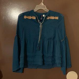 Francesca's Blue Shirt Size Medium NWOT